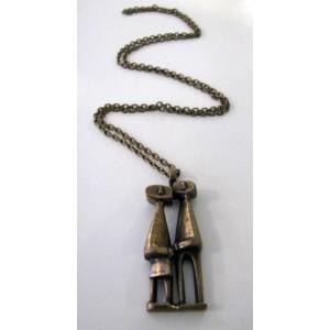 - SOLD - Jorma Laine Finland: COUPLE necklace, cast bronze