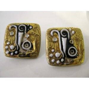 Anton Michelsen Royal Copenhagen Picasso-style gold ear clips