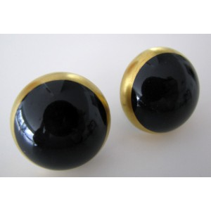 Royal Copenhagen Black + Gold China Screw back  Earrings