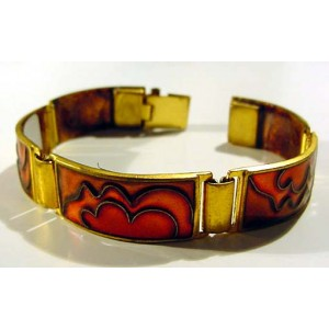 Cloisonné enamel Bracelet, Red Waves in Brass Mounting