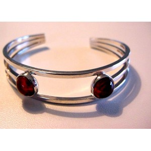 N.E. From Modernist Bangle with Amber Cabochons