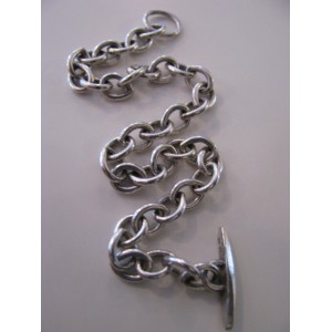 "Solid sterling silver bracelet for charms or ""naked"""