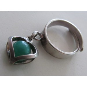 - SOLD - Alton Sweden: nice silver ring with heart charm