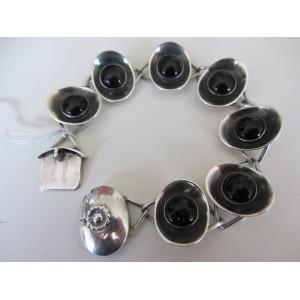 Dragsted Copenhagen Denmark: Elegant sterling silver bracelet with onyx
