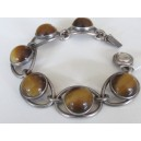 N.E. From Denmark: solid sterling silver bracelet with tiger's eye cabochons!