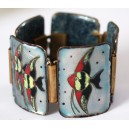 "Beautiful Vintage Enamel Bracelet ""Aquarium"" 1960's"