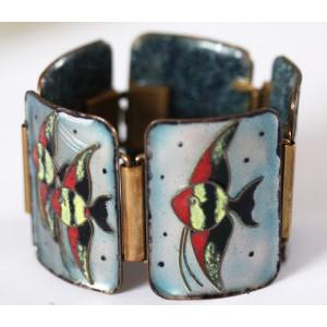"Beautiful Vintage Enamel Bracelet ""Aquarium"" 1960's"