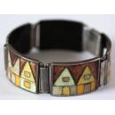 """Cloisonné Enamel Bracelet """"Village"""", 1960's"""