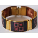 Cloisonné Enamel Bracelet by Scholz&Lammel in Brass Mounting with geometric figures