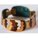 Cloisonné Enamel Bracelet by Scholz&Lammel, Brown Waves