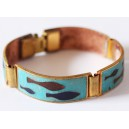 Lovely Cloisonné Enamel Bracelet by Scholz&Lammel in Brass Mounting ''Ocean""