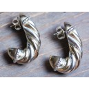 D'Argent  Earrings Silver and Gold in Cord Style