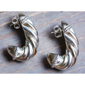 D'Argent  South Africa Earrings Silver + Gold in Cord look