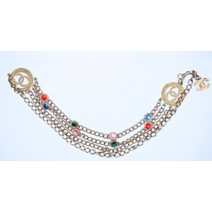 Extraordinary authentic vintage Chanel Belt gold tone + coloured Stones!