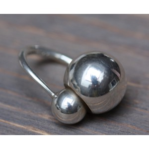 SOLD - Georg Jensen Denmark Ring Two Spheres with gilt cave 925 silver