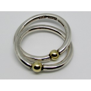 Sterling Silver Double Ring with Gold Spheres by Regitze Overgaard Denmark