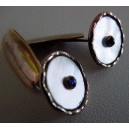 Goldtone - MOP - Saphire: fine pair of early Cufflinks!
