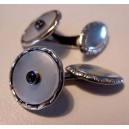 Silver - Mother of Pearl - Saphire center: early cufflinks